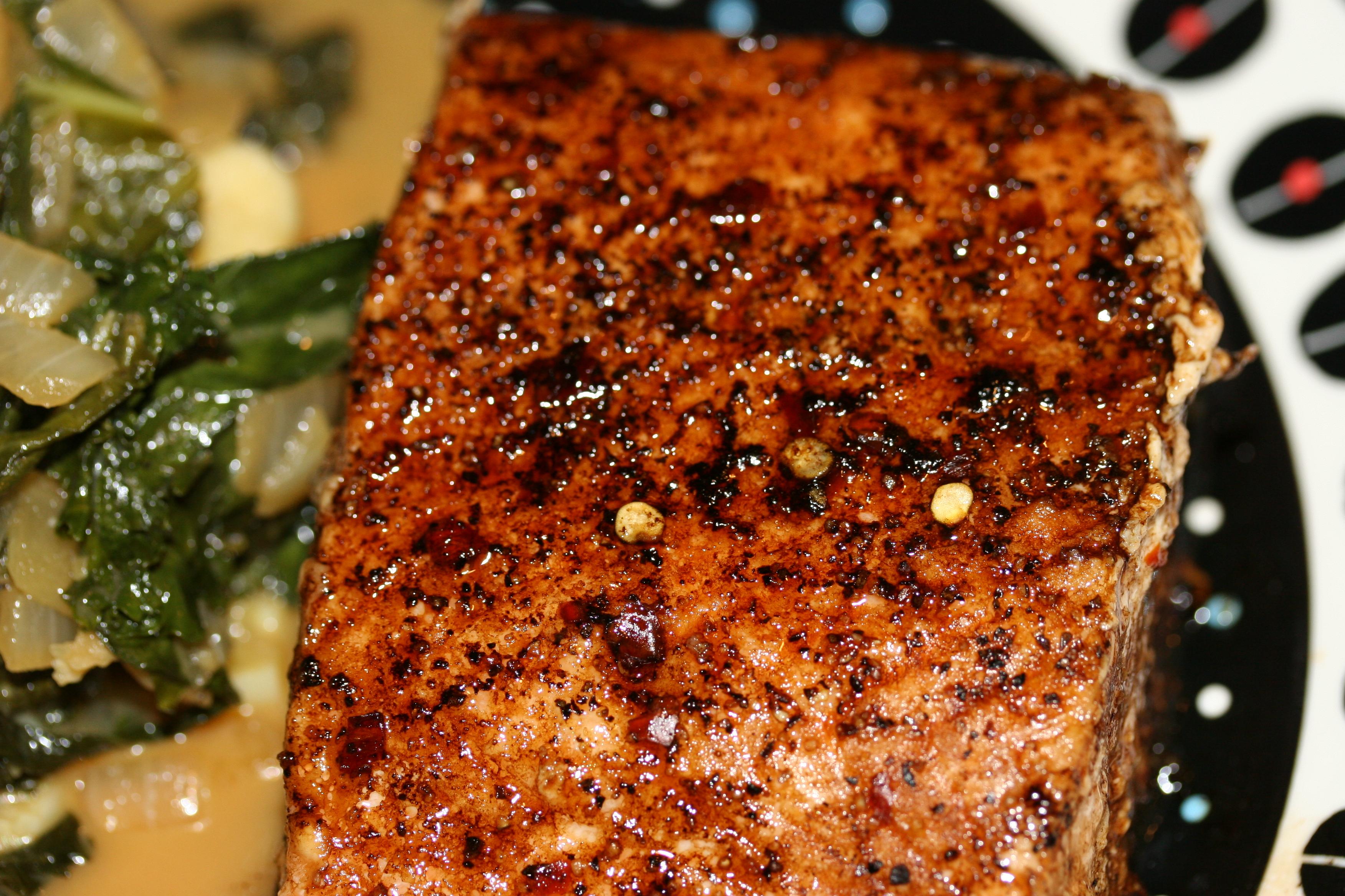 Balsamic Glazed Salmon with Tahini Sauteed Kale | Whiskey & Wry