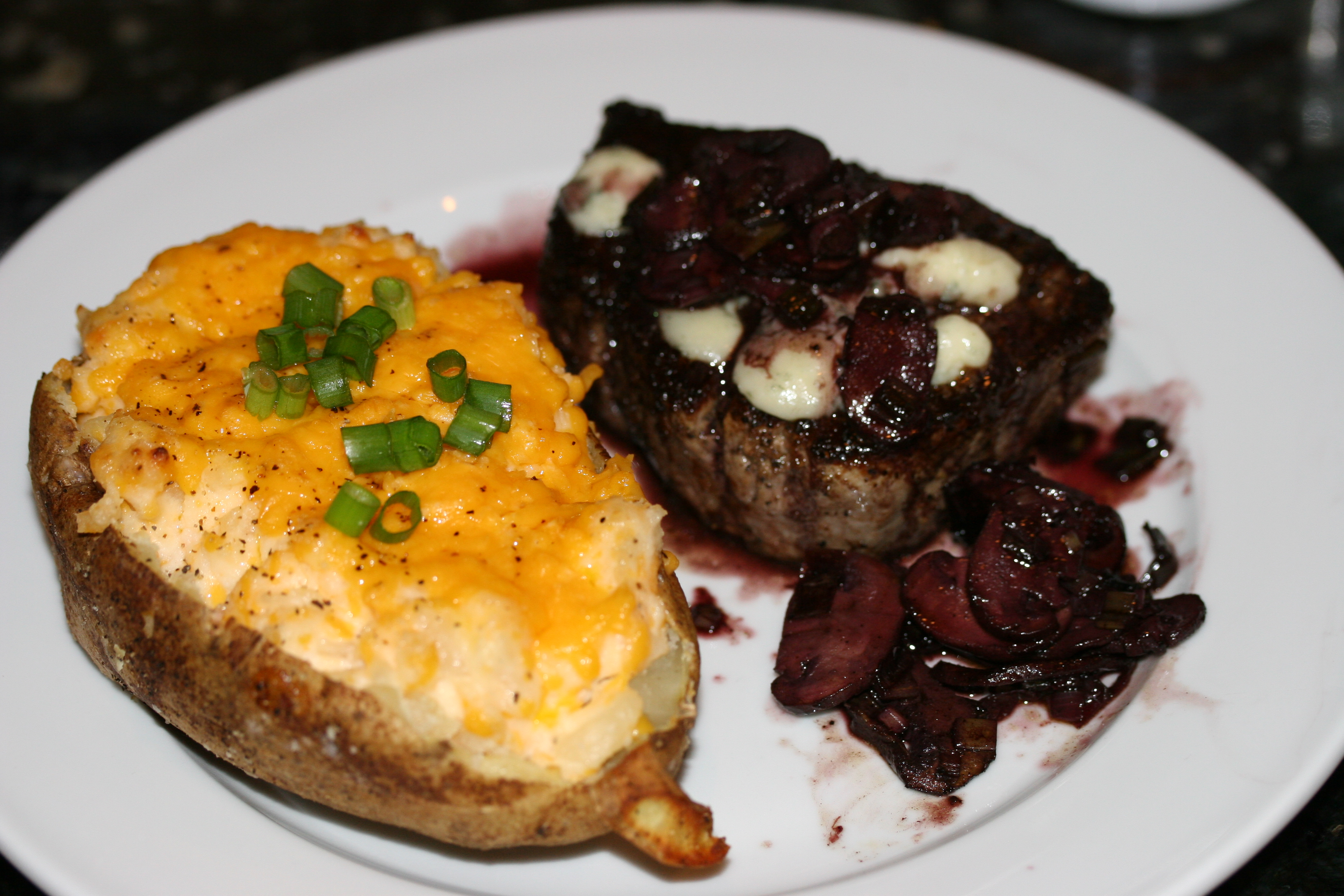 Filet Mignon, Twice Baked Potato, and Blue Cheese Wedge Salad ...