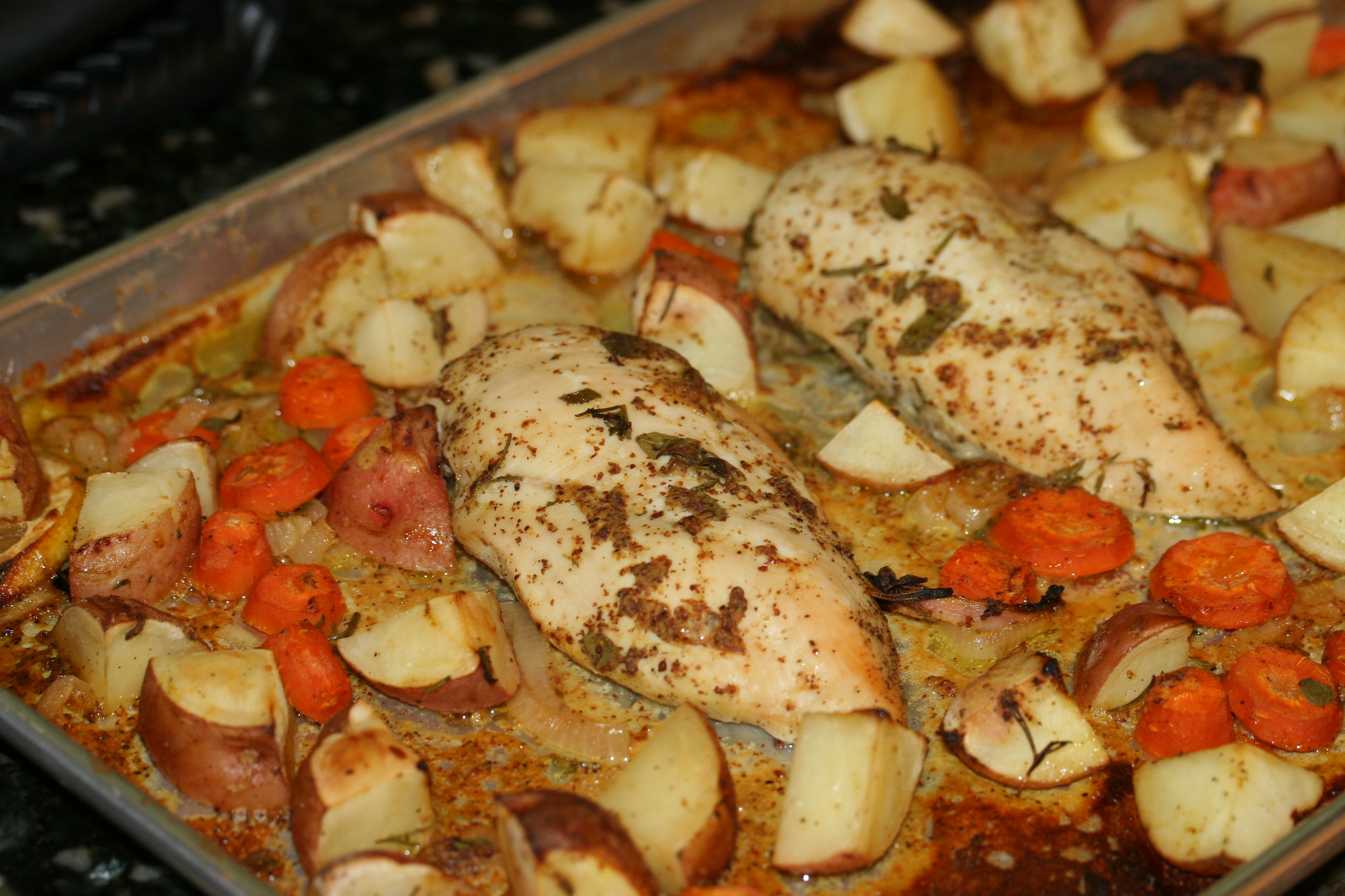 Herb roasted chicken breast and potatoes recipe