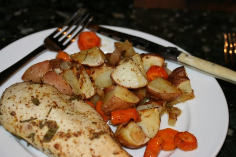 Pan Roasted Herb Chicken Potatoes And Carrots Whiskey